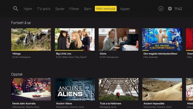 Under Mitt innhold finner du serier og filmer du følger, samt opptakene dine. Foto: Get