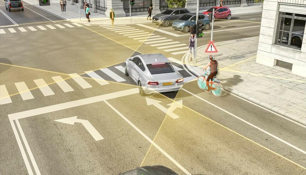 TRYGGERE BYMILJØER: Continentals nye kortdistanseradar kan bidra til å forhindre ulykker mellom bil, syklister og gående, sier selskapet. Foto: Continental