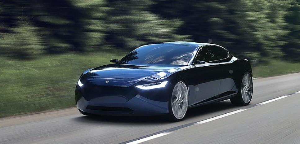ELEGANT: Foreløpig finnes bilen bare på dette bildet, som viser en elegant luksusbil. Akselerasjon og toppfart skal bli bedre enn på de råeste sportsbilene, ifølge Fresco Motors. Bilde: Fresco Motors