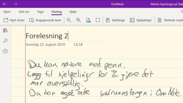 Du kan selvsagt notere med penn i OneNote, bare sørg for at du skriver slik at teksten er leselig i ettertid.
