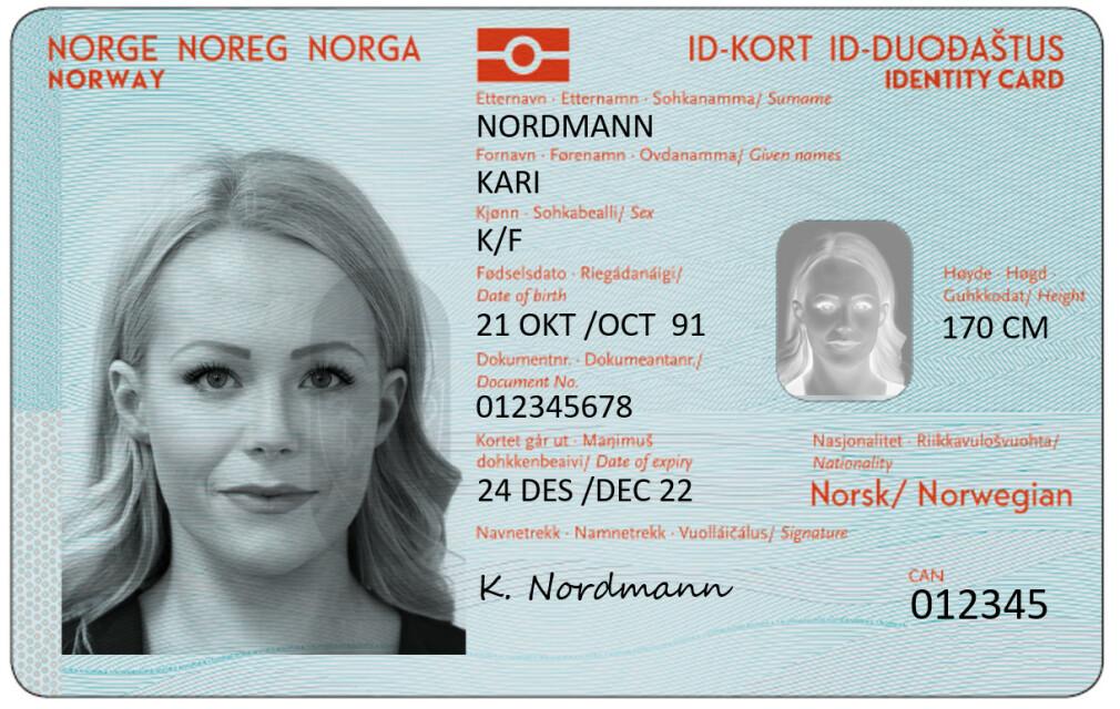 NASJONALT ID-KORT: Du skal ikke trenge mer enn dette kortet for å legitimere deg på reiser innenfor Schengen-området, når det nye nasjonale ID-kortet kommer. Det er slik det vil se ut. Foto: NTB scanpix
