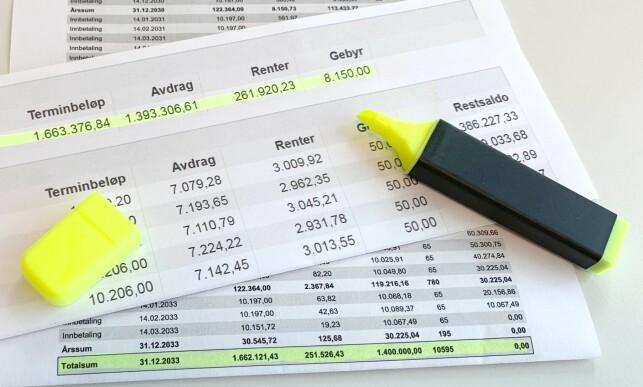 SUMMEN AV ALT: Det følger en betalingsplan med lånet ditt, som kan være grei å sjekke hvis du vurderer å bytte til en bank som tilbyr lavere rente. Foto: Eilin Lindvoll.