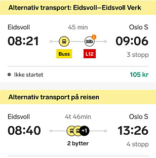 ALTERNATIVER: Ett av Vys alternativer til tog er, som vi kan se nederst, en reise på nesten fem timer. Foto: Skjermdump