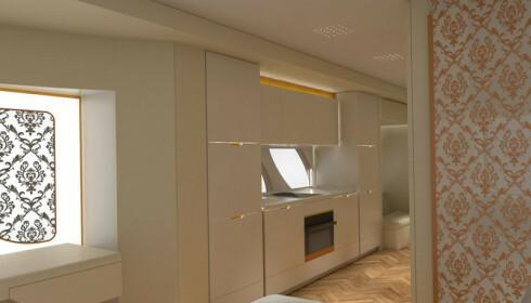 <strong>KJØKKEN:</strong> Isbitmaskin, kjøleskap, fryser og oppvaskmaskin er selvsagt på plass. Foto: Marchi Mobile