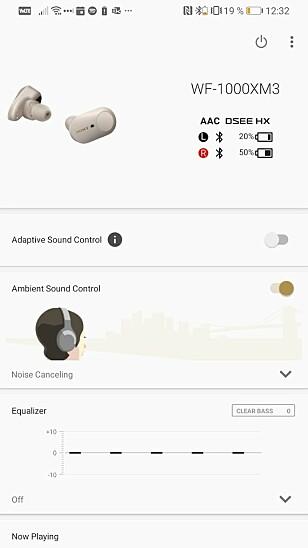 APP: Med Sonys app kan du blant annet justere lyden med equalizer, sjekke batteriprosent (unøyaktig som du ser), justere støyreduksjon og andre ting. Skjermbilde: Pål Joakim Pollen