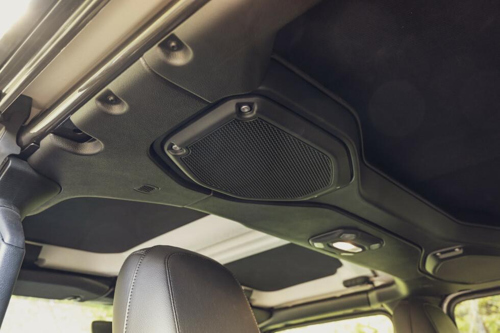 DISCO: Båylene er svære og en del av bilens struktur. Høyttalerne er standard. Foto: Jamieson Pothecary