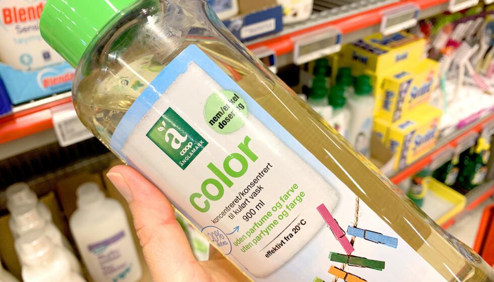 BEST I TEST: Änglamark color er best i test av flytende vaskemiddel for farget vask. Foto: Kristin Sørdal