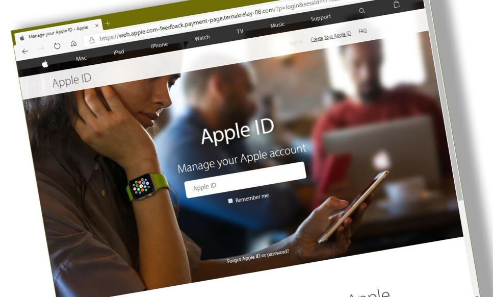 APPLE-SVINDEL: Denne svindelsiden er såpass gjennomført at det kan være vanskelig å skille den fra Apples offisielle nettsted. Foto: Skjermdump