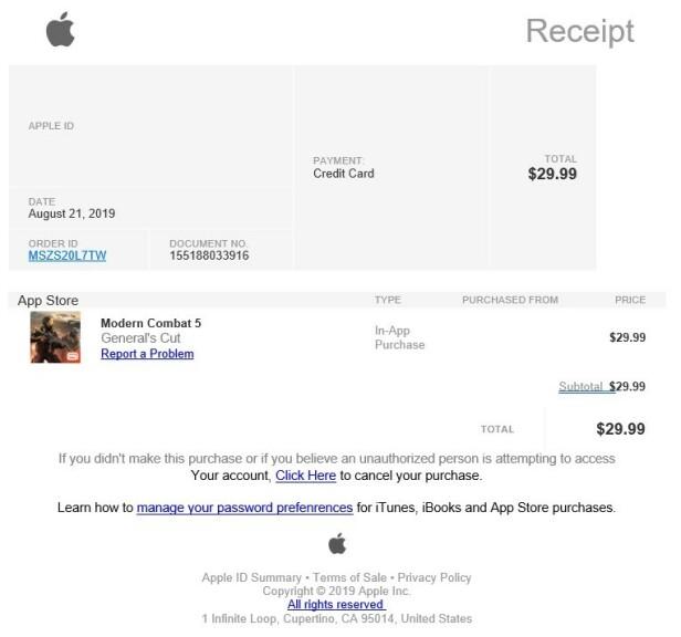APP STORE: Et eksempel på hvordan de falske kvitteringene fra «Apple»  ser ut. Foto: Skjermdump