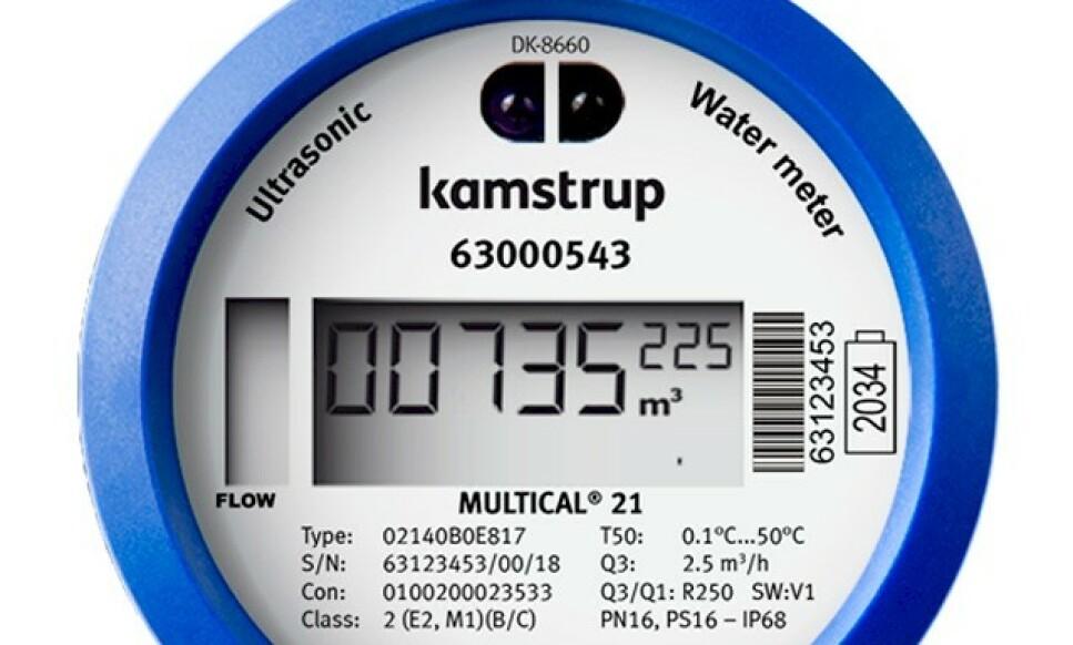 SMART VANNMÅLER: Kamstrup leverer både smarte strømmålere og vannmålere. Dette er en vannmåler - antatt levetid er 16 år. Foto: Kamstrup