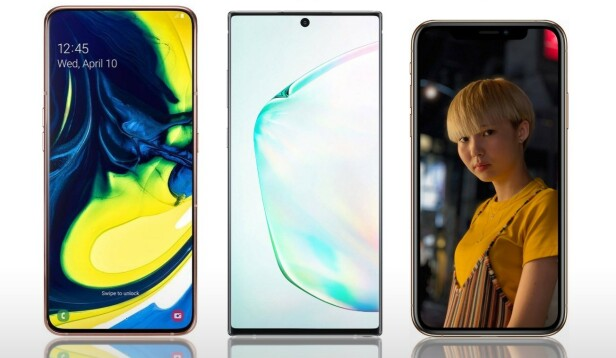 <strong>STOR:</strong> Fra venstre Samsung Galaxy A80, Samsung Galaxy Note 10+ og Apple iPhone XS Max.