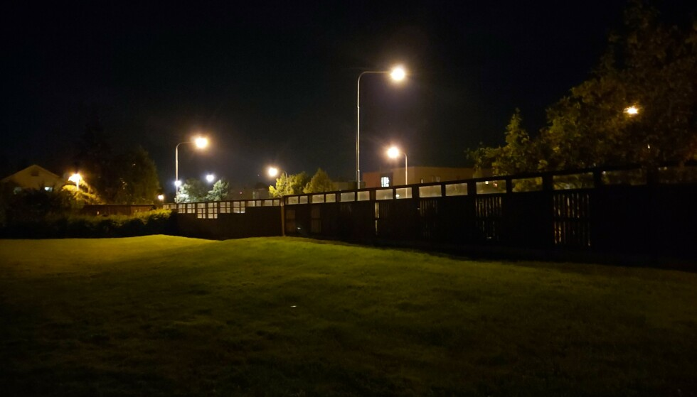 <strong>I MØRKET:</strong> Detaljene forsvinner i mørket – legg spesielt merke til gresset og trærne. Foto: Martin Kynningsrud Størbu