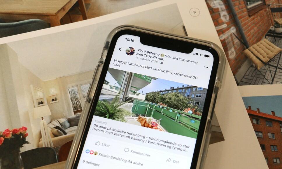 SELGE PÅ SOME: Skal du selge bolig, er det lurt å dele dette med så mange som mulig, for eksempel via Facebook og Instagram. Flere meglerfirma tilbyr digital markedsføring som et tilleggsprodukt når de tar salgsoppdraget for deg. Dette er imidlertid en jobb du enkelt kan gjøre deler av selv, ifølge sosiale medier-ekspert. Foto: Eilin Lindvoll.