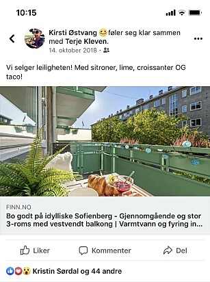 DEL SELV: Det er helt gratis å lenke til boligannonsen din på egen Facebook-profil. Foto: skjemdump.