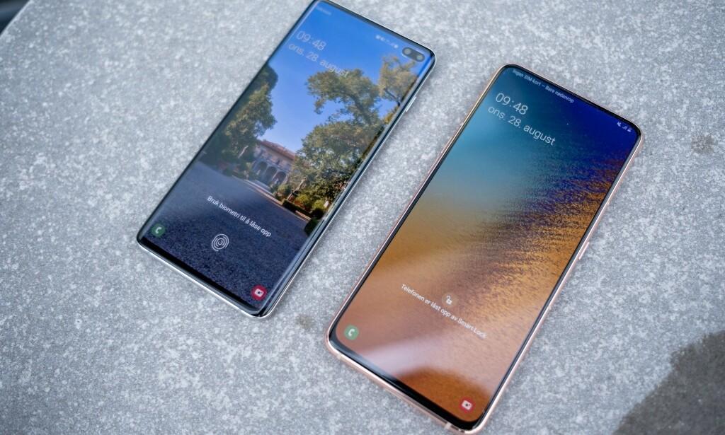 Fra venstre: Samsung Galaxy S10+ og Galaxy A80. Foto: Martin Kynningsrud Størbu