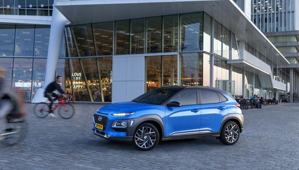 BEST: Elbilen Hyundai Kona er den som har rekkevidde nærmest den oppgitte rekkevidden, ifølge NAF-testen. Foto: Hyundai