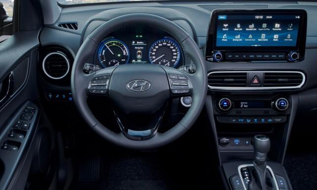 STØRRE SKJERM: Hyundai har alltid hatt enkelt brukergrensesnitt, og det blir ikke værre med widescreen-skjermen. Foto: Rune M. Nesheim