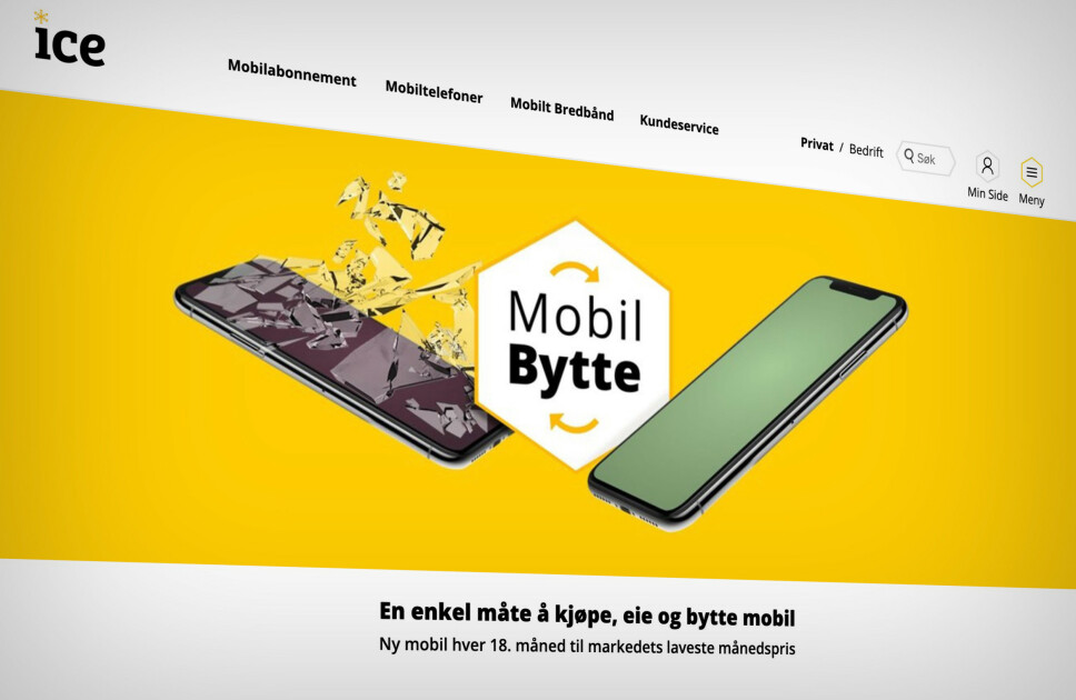 LANSERER NYTT TILBUD: Med MobilBytte går Ice i strupen på Telia og Telenors Svitsj- og Swap-løsninger. Skjermbilde: Pål Joakim Pollen
