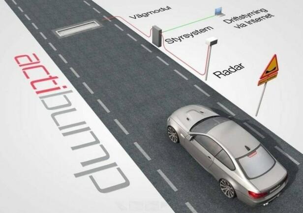 PÅ FARLIGE STREKNINGER: Actibump skal bedre trafikksikkerheten på spesielt utsatte steder som ved skoler. En radar måler hastigheten og aktiverer lemmen dersom det kjøres for fort. Ill: Edeva