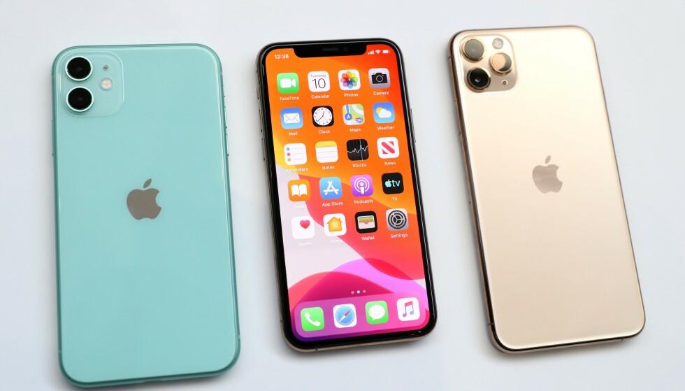 NY TRIO: Her er de nye iPhone-modellene; fra venstre, iPhone 11, iPhone 11 Pro og iPhone 11 Pro Max. Foto: Justin Sullivan/AFP/NTB Scanpix