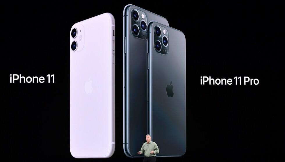 TRE STØRRELSER: Du har tre størrelser å velge mellom, 6,1 tommer på iPhone 11 og henholdsvis 5,8 eller 6,5 tommer på iPhone 11 Pro (og 11 Pro Max). Foto: Josh Edelson/AFP/NTB Scanpix