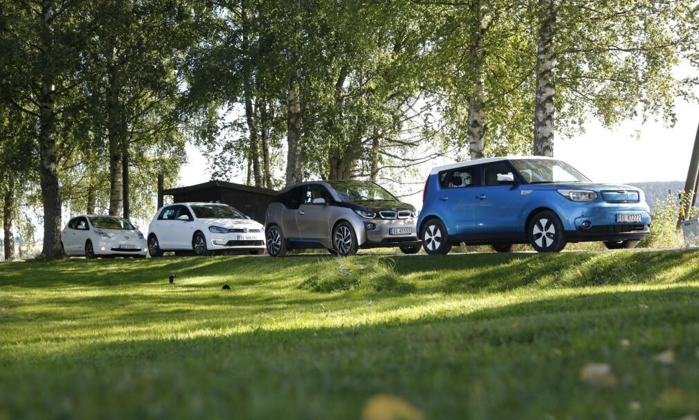 MANGE PÅ MARKEDET: Sitter du på førstegenerasjon av VW e-Golf, BMW i3, Kia Soul electric eller Nissan Leaf, kan det bli vanskelig å selge til en grei pris. Foto: Espen Stensrud