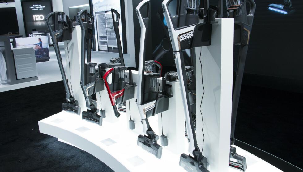 Forskjellige modeller av Mieles oppladbare støvsuger. Foto: Berit B. Njarga