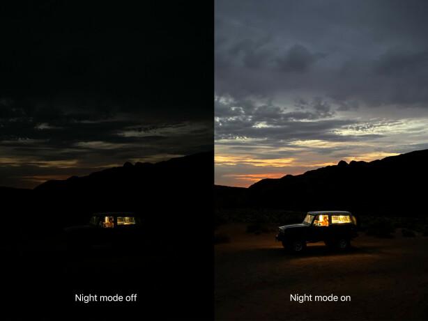NATTMODUS: Slik ser iPhone 11-bilder ut med og uten nattmodus, ifølge Apple.