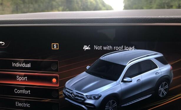 IKKE TAKBOKS: Mercedes mener takboksen skal av hvis du velger kjøreprogrammet sport. Foto: Rune M. Nesheim