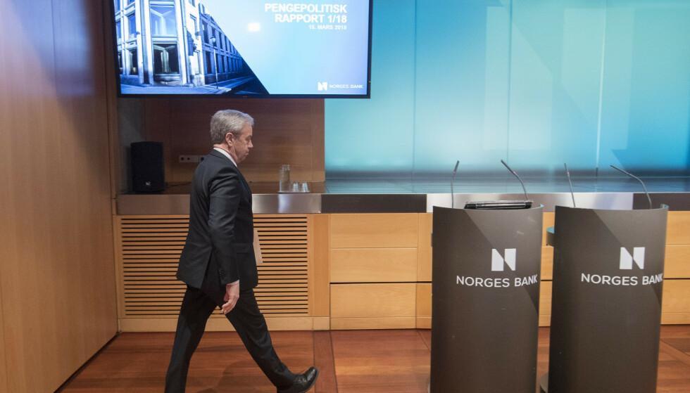 RENTEMØTE: Førstkommende torsdag skal sentralbanksjef Øystein Olsen legge frem en ny rentebeslutning, Foto: Terje Bendiksby/NTB Scanpix