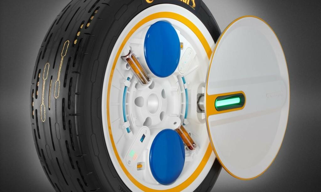 C.A.R.E.: Det komplette hjulet er hardstappet med sensorer og luftsystemer, som sender skal informasjon via Bluetooth. Foto: Continental