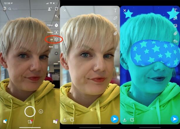 NY KNAPP: Se etter en nedover-pil oppe til høyre på skjermen når du skal ta et bilde. Trykk på denne for å få opp flere funksjoner, deriblant 3D-modus. Skjermbilde: Kirsti Østvang