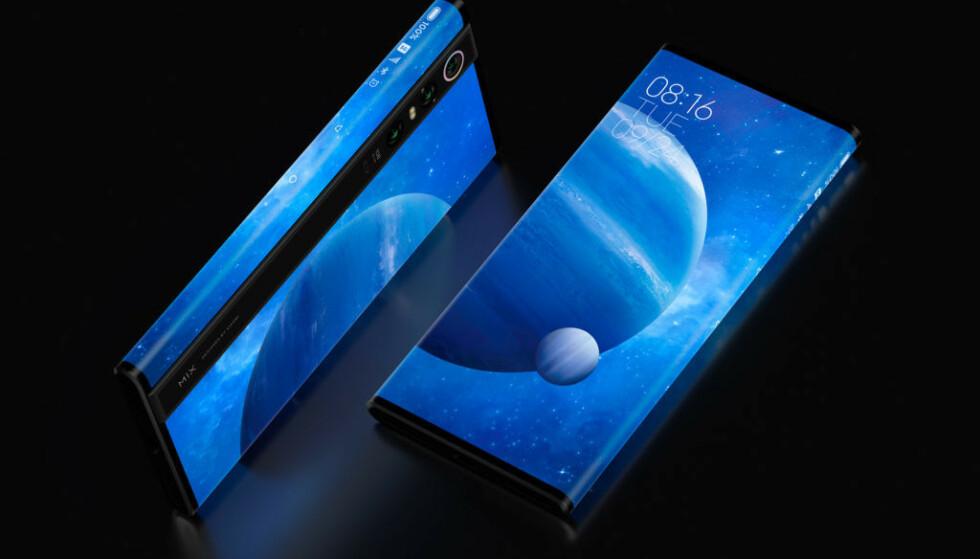 """""""NESTEN HELE VEIEN RUNDT"""": Xiaomis nye påfunn er en mobil med såkalt surroundskjerm, som """"går nesten hele veien rundt"""", som de selv sier. Foto: Xiaomi"""