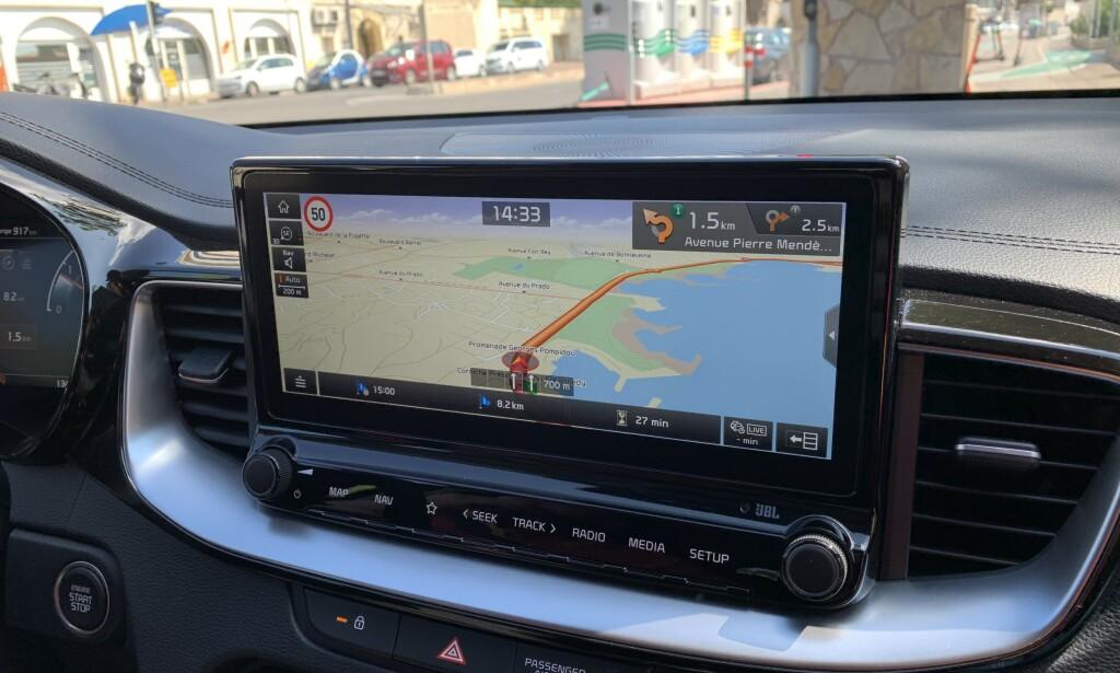 MIDT I BLINKEN: Navigasjon på 10,25-tommers høyoppløst skjerm fungerer bra. Standard på XCeed Exclusive. Foto: Knut Moberg