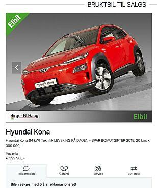 TJENER GODT: Denne bilen la Birger N. Haug ut for salg, med 65.000 kroner i fortjeneste. Ifølge forhandleren er den nå solgt. Faksimile: bnh.no