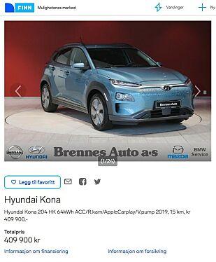 DYREST NÅ: Brennes Auto i Østfold har en Hyundai Kona Electric til salgs for hele 409.900 kroner - om lag 75.000 kroner i fortjeneste. Faksimile: finn.no