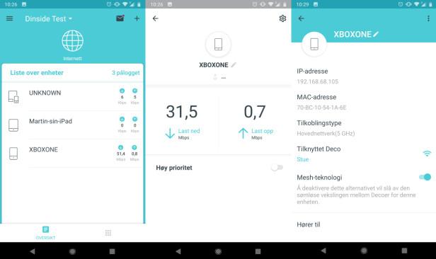 TP-Link-appen. Fra venstre: startskjem, enhetsinnstillinger og enhetsinformasjon.