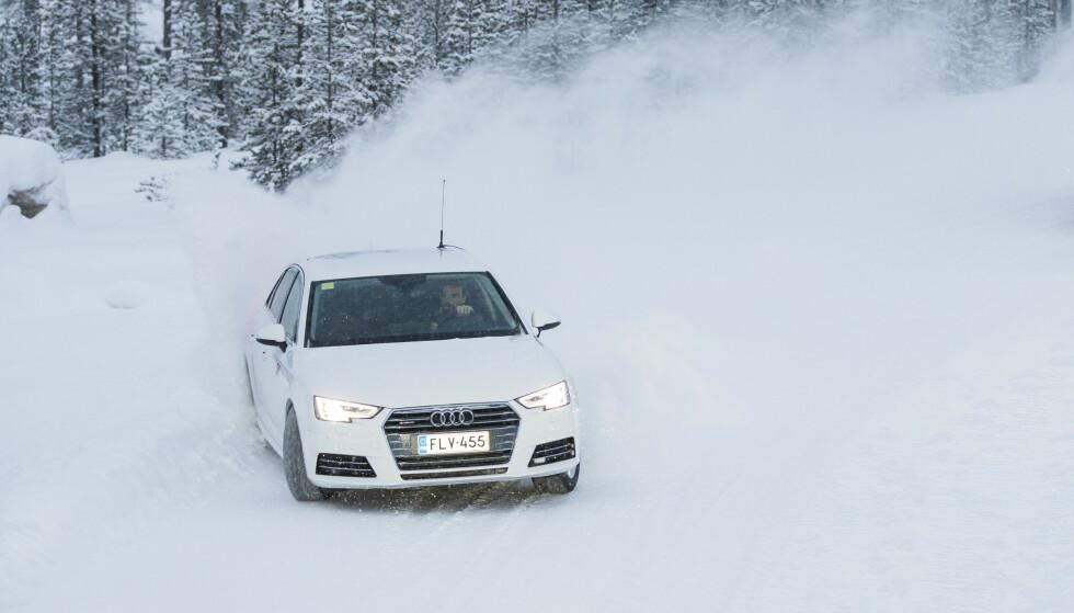 AUDI-EIERE KJØRER FORT: Det er eierne av de mindre Audi-modellene som har den mest aggressive kjørestilen, viser analyser Fremtind har gjort etter å ha logget 200 millioner kjørte kilometer i bilene til sine kunder. Foto: Markus Pentikainen