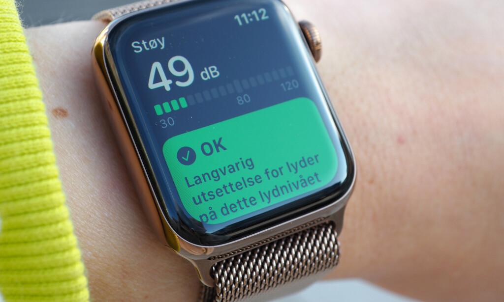HØRSELHELSE: Med watchOS 6 kan du bruke Apple Watch som desibelmåler. Foto: Kirsti Østvang