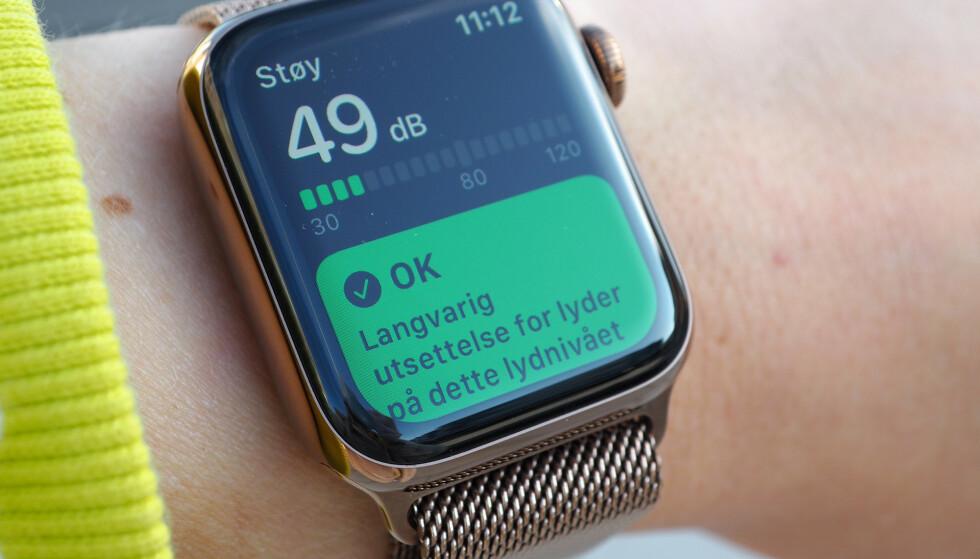 <strong>HØRSELHELSE:</strong> Med watchOS 6 kan du bruke Apple Watch som desibelmåler. Foto: Kirsti Østvang