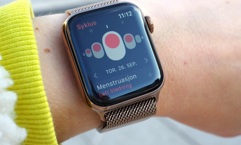 BEST PÅ KLOKKA: Syklus-appen er faktisk enklere å bruke på Apple Watch enn iPhone. Foto: Kirsti Østvang