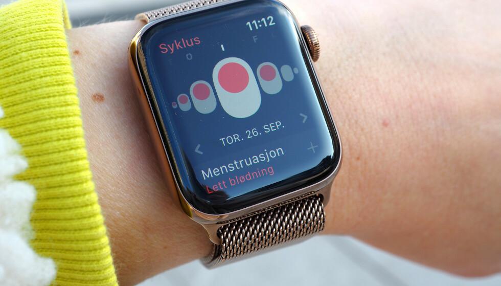 <strong>BEST PÅ KLOKKA:</strong> Syklus-appen er faktisk enklere å bruke på Apple Watch enn iPhone. Foto: Kirsti Østvang