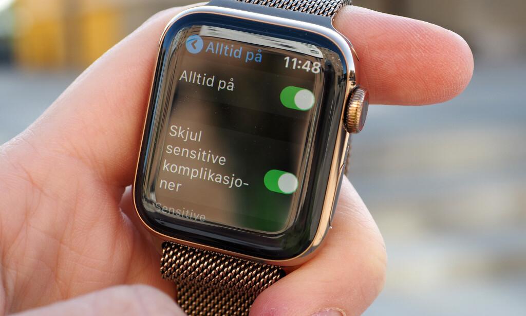 SPARE STRØM: Merk at du kan skru av alltid på-skjermen for å få «normal» batteritid som på Series 4 igjen. Foto: Kirsti Østvang