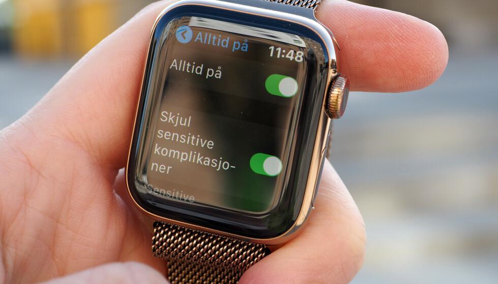 <strong>SPARE STRØM:</strong> Merk at du kan skru av alltid på-skjermen for å få «normal» batteritid som på Series 4 igjen. Foto: Kirsti Østvang