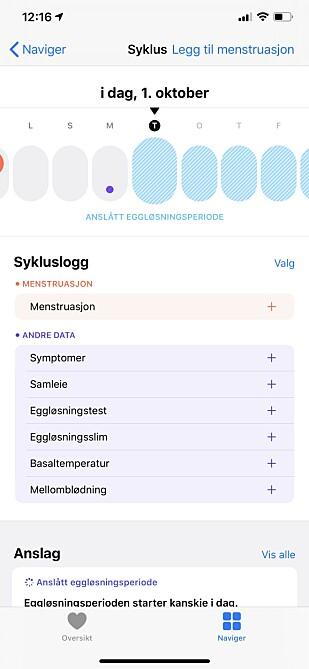 MENSKALENDER: Med iOS 13 og watchOS 6 får du en menskalender