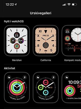NYE URSKIVER: Du kan se hvilke nye urskiver du får i watchOS 6 fra Watch-appen på iPhone. Du kan også tilpasse dem rett på Apple Watch. Skjermbilde: Kirsti Østvang
