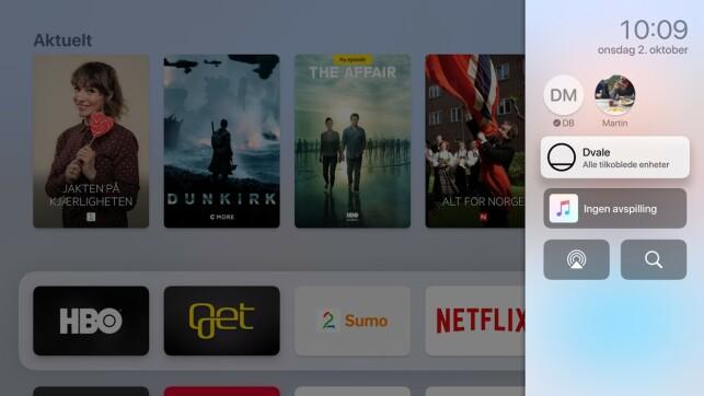 KONTROLLSENTER: Se her, du, et nytt kontrollsenter på Apple TV.