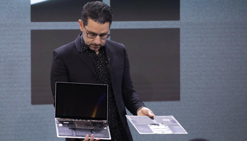 BYTT SSD: På Surface Laptop 3 kan du bytte SSD-brikke. Foto: AP Photo/Mark Lennihan/NTB Scanpix