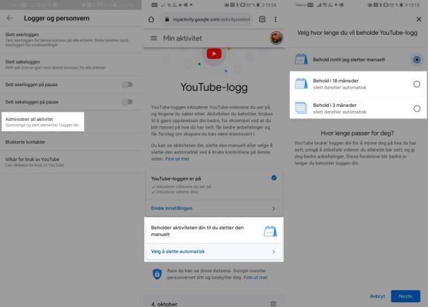 Slik sletter du YouTube-aktiviteten automatisk