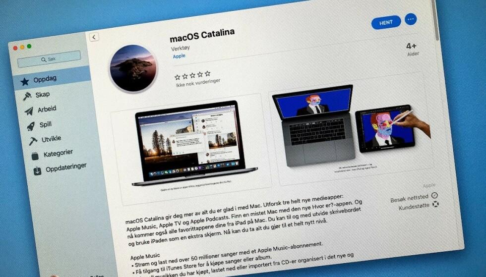 ÅRETS OPPDATERING: MacOS Catalina kan lastes ned fra Mac App Store, men vær på vakt - det kan være at programmer du har installert ikke lenger vil virke. Foto: Pål Joakim Pollen